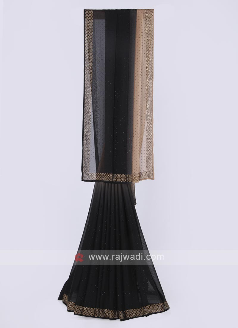 Chiffon silk saree in black and brown color