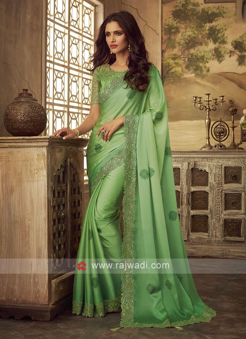 Chiffon Silk Saree In Green