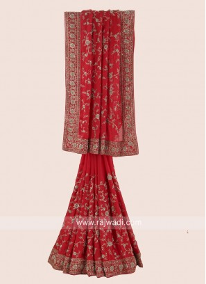 Chiffon Silk Saree in Red