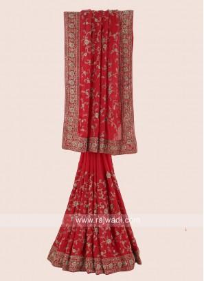 Chiffon Silk Saree in Red
