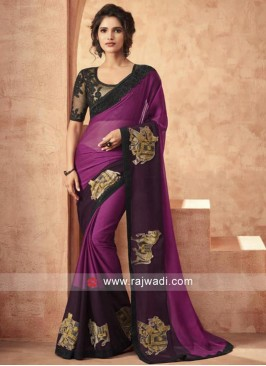 Chiffon Silk Saree wih Patch Work Border