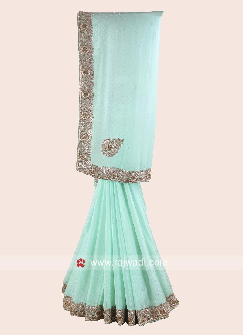 Chiffon Silk Saree with Brocade Silk Blouse