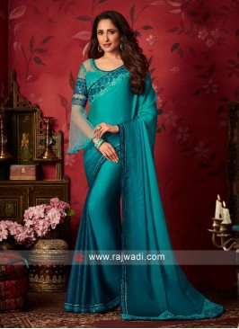 Chiffon Silk Saree with Raw Silk and Net Blouse