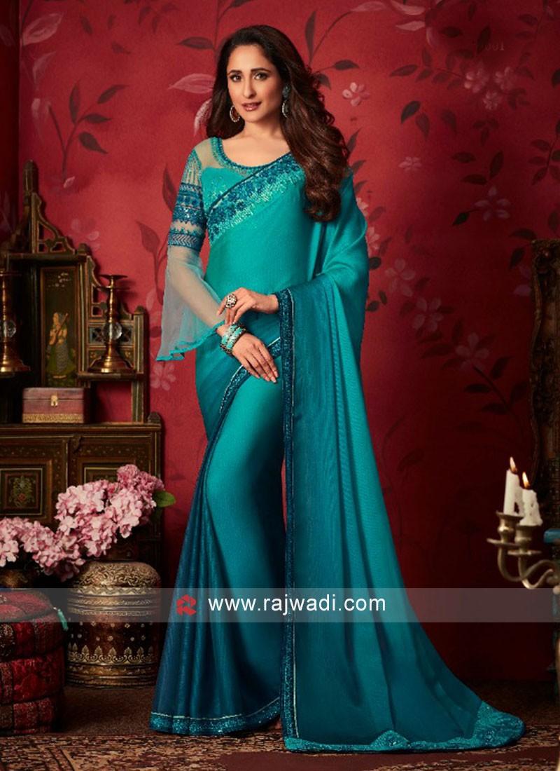 Chiffon Silk Saree with Raw Silk and Net Blouse