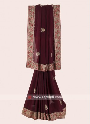 Chiffon Silk Saree with Raw Silk Blouse