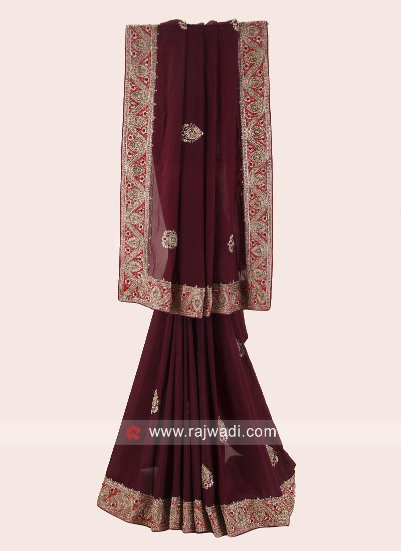 Chiffon Silk Saree with Raw Silk Blouse