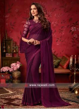 Chiffon Silk Saree with Sequins Work Border