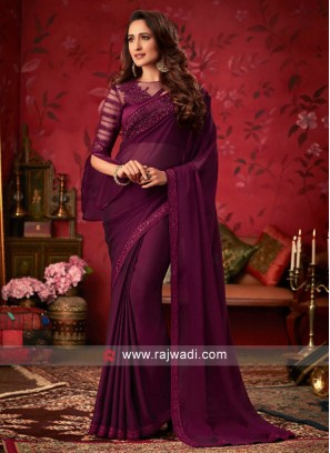 Chiffon Silk Saree with Sequins Work Border