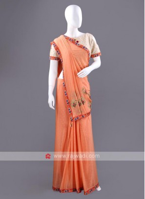 Chiffon Silk Saree with Stitched Blouse