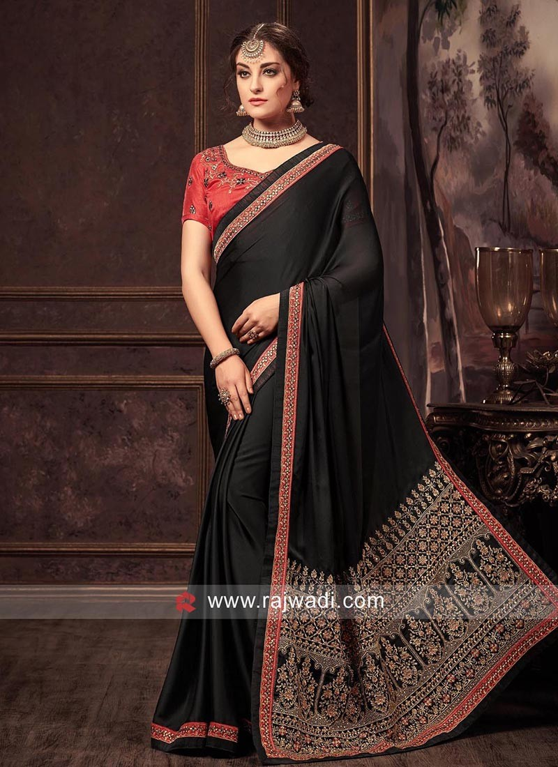 Chiffon Silk Sari in Black
