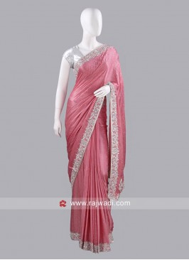 Chiffon Silk Sari with Raw Silk Blouse