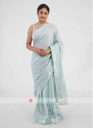 Chiffon Silk Sequins Work Saree