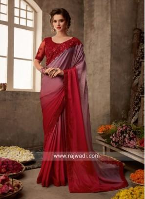 Chiffon Silk Shaded Border Work Saree
