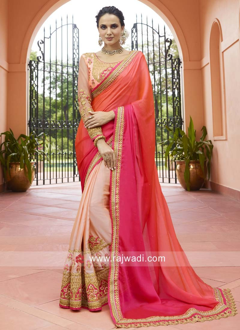 Chiffon Silk Shaded Designer Saree