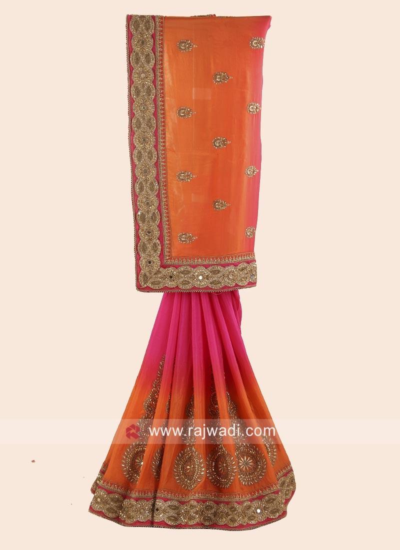 Chiffon Silk Shaded Saree with Blouse