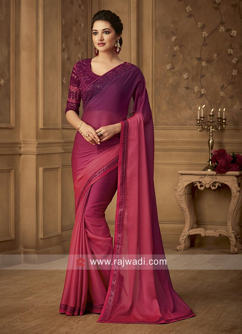 Chiffon Silk Shaded Saree with Embroidery Blouse