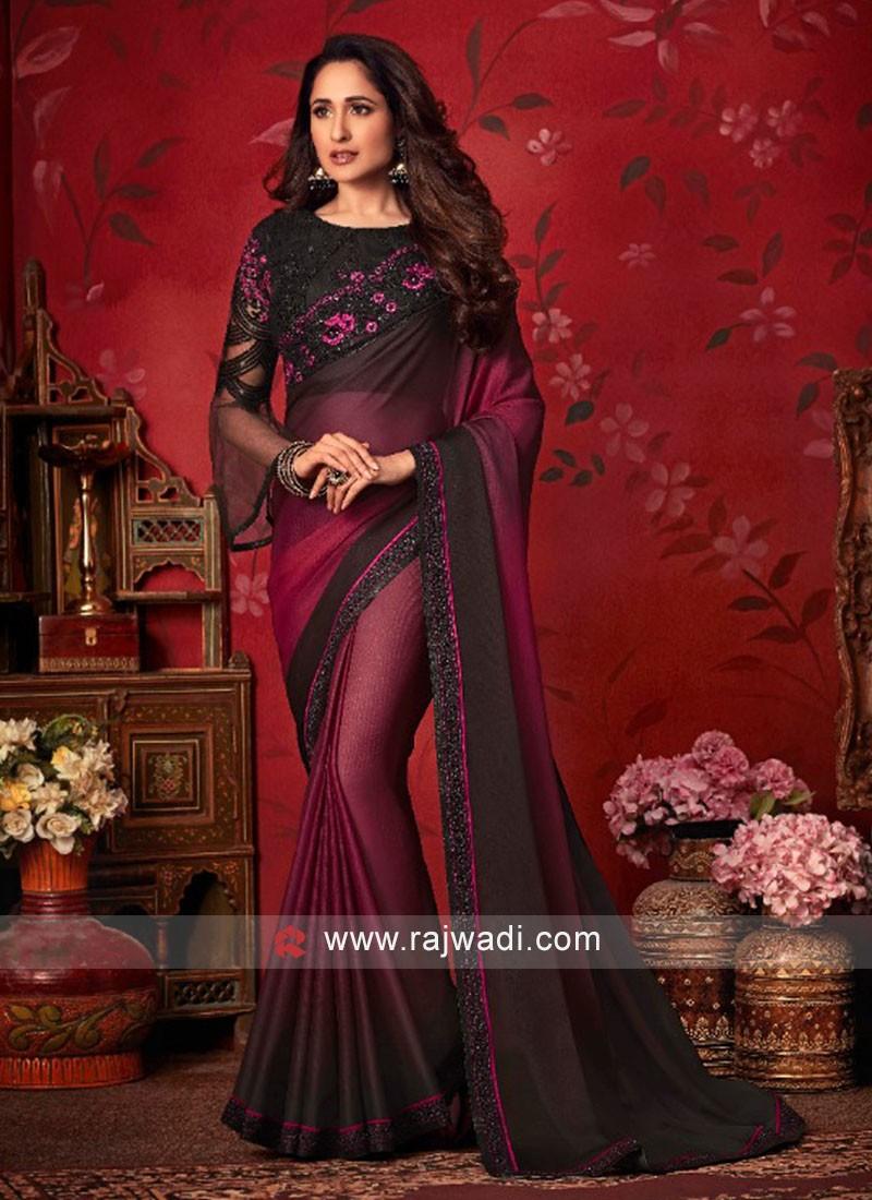 Chiffon Silk Shaded Saree with Lace Border