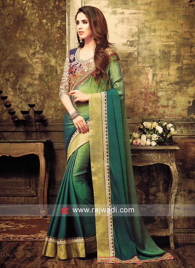 Chiffon Silk Shaded Sari with Contrast Border