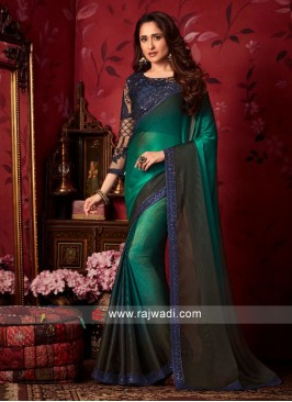 Chiffon Silk Shaded Wedding Saree