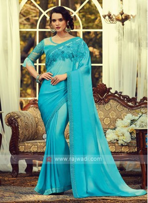 Chiffon Silk Sky Blue Border Saree