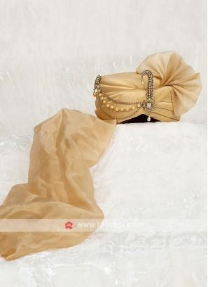 Chiffon Silk Turban In Golden Color