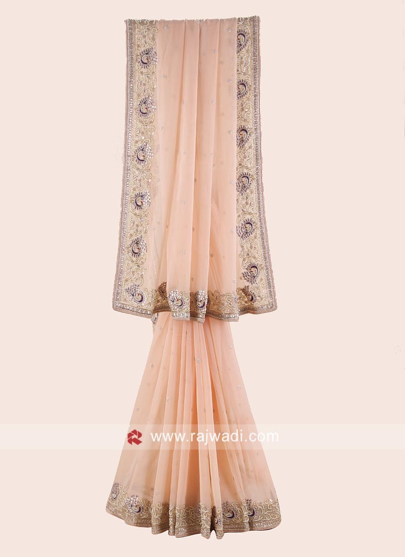 Chiffon Wedding Saree in Peach