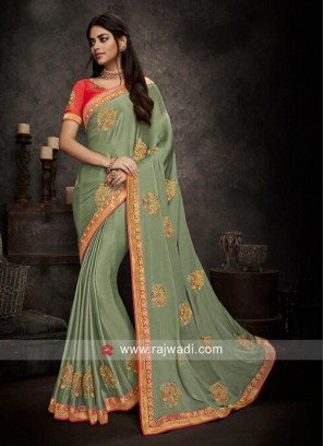 Chiffon Wedding Saree with Blouse