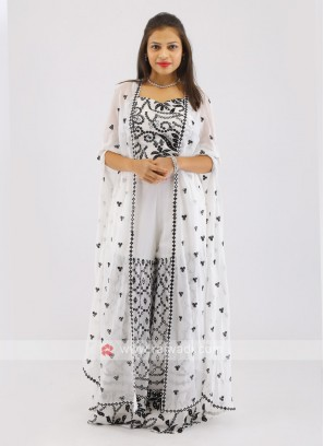 Chiffon White Gharara Suit With Shrug