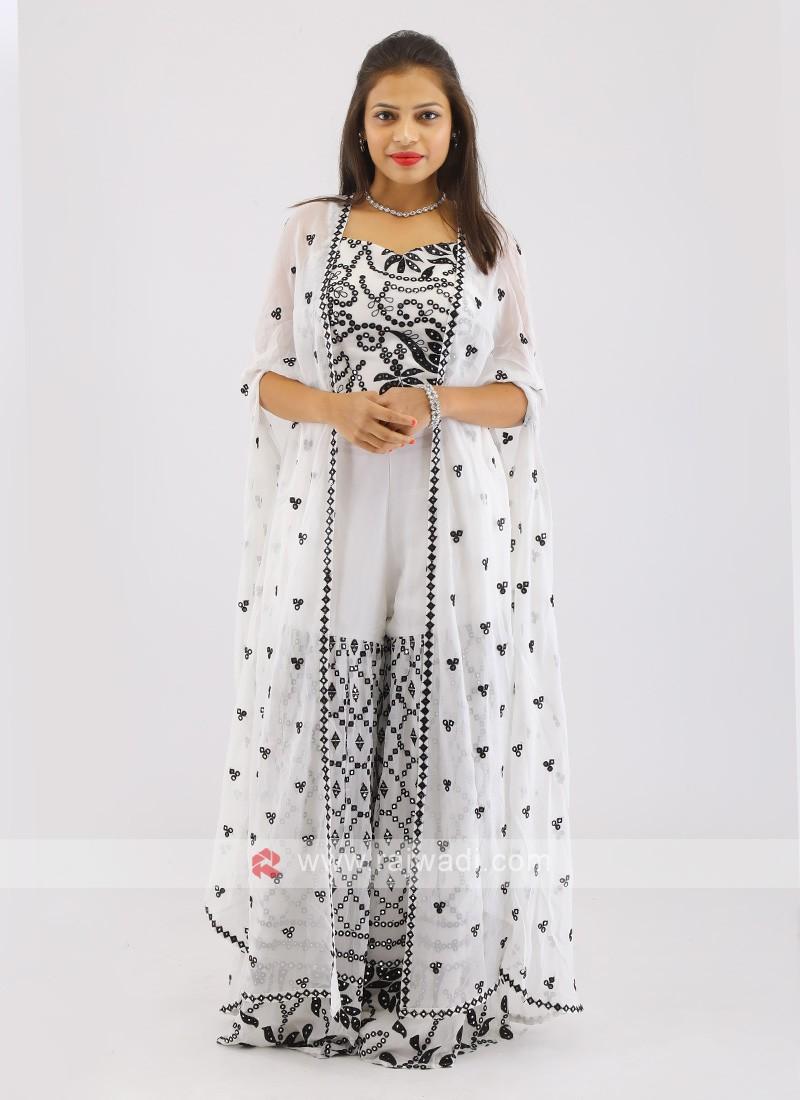 Chiffon White Gharara Suit With Shrug