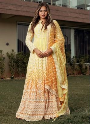 Chiffon Yellow And Mustard Yellow Anarkali Suit