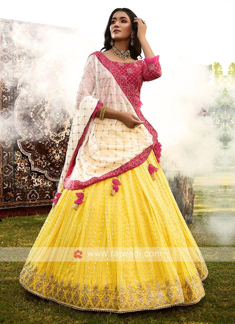 Chiffon Yellow And Pink Lehenga Choli