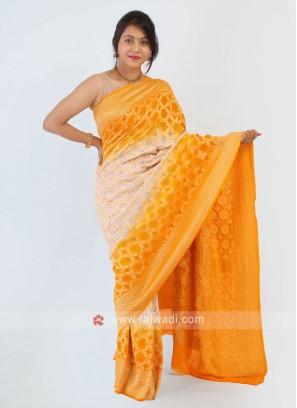 Chiffon Yellow And White Bandhani Saree