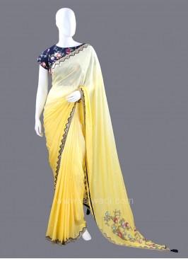 Chiffon Yellow Shaded Saree with Stitched Blouse