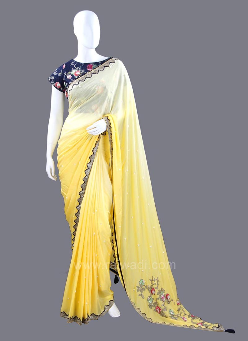 Chiffon Yellow Shaded Saree with Stitched Blouse