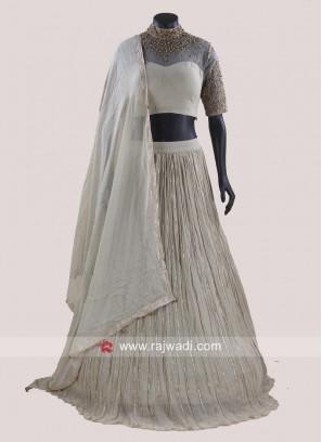 Chiffon Zari Work Pleated Choli Suit