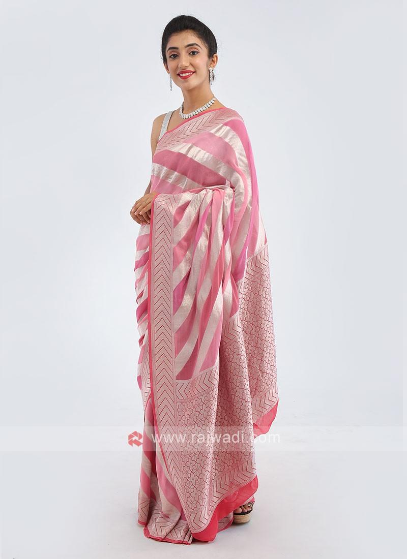 Chiffon Pink Saree