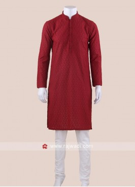 Chikan Fabric Maroon Kurta Set