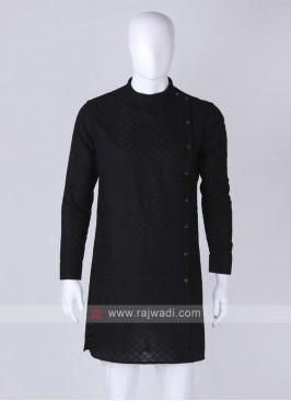 chikan work black kurta