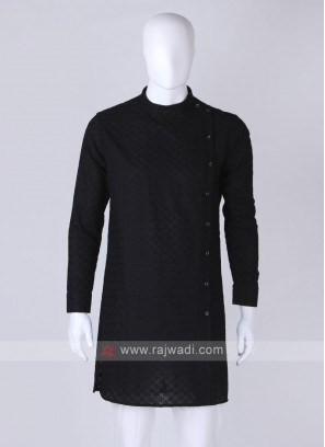 chikan work black kurta