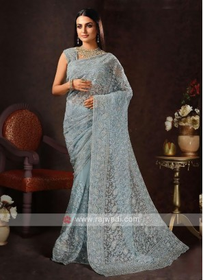 Chikankari saree in cadet blue color