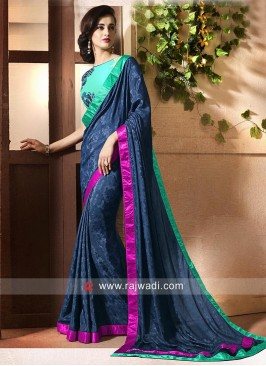 Chinon Saree with Contrast Border