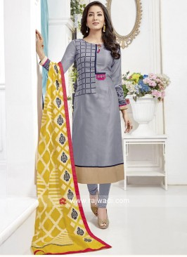 Printed Churidar Suit with Contrast Dupatta