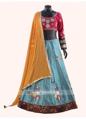 Classic Designer Raw Silk Fabric Chaniya Choli
