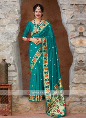 Attractive Teal Color Saree