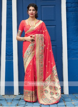 Classic Saree In Coral Color