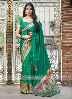 Classic Saree In Sea Green Color