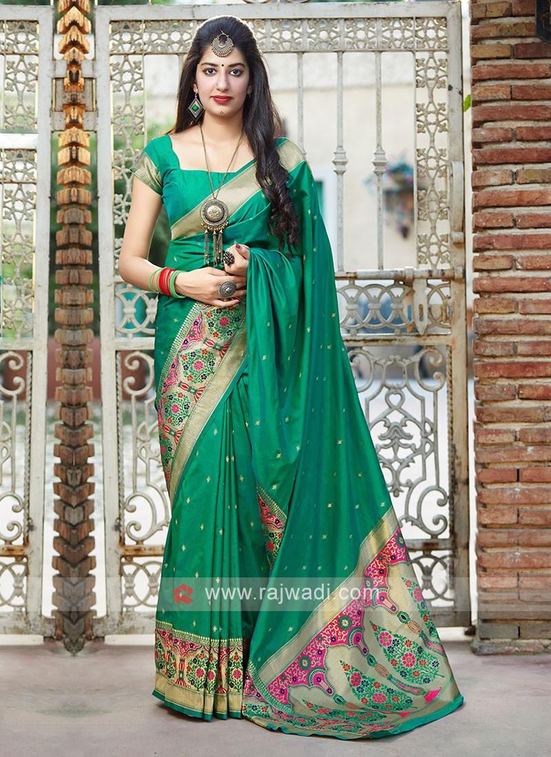 Classic Saree In Sea Green Color