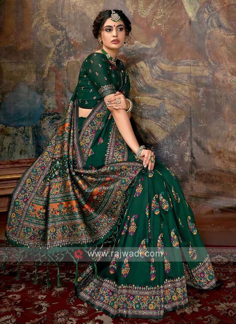 Classic Saree In Green Color