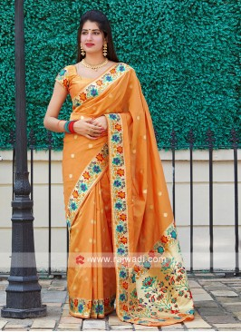 Classic Saree In Orange Color