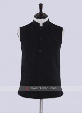 classy black jute silk nehru jacket